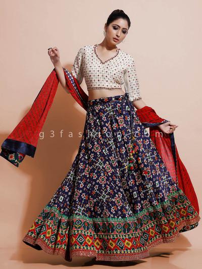 Designer cream lehenga choli fro wedding in patola silk