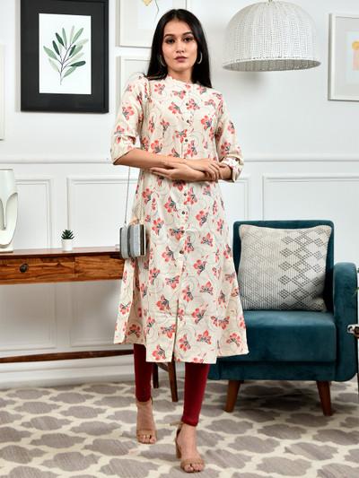 Designer cream printed cotton casual wear kurti
