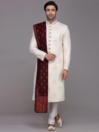 Designer cream sherwani in silk