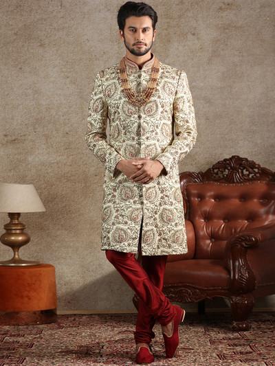 Designer cream silk sherwani special for wedding