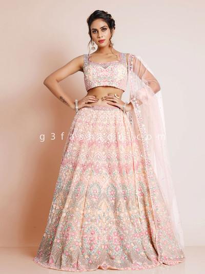 Designer georgette pink lehenga choli for wedding