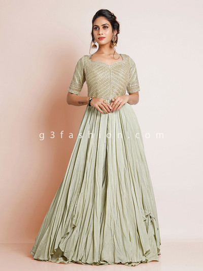 Designer gown in pista green hue for wedding sessions