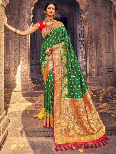 Designer green banarasi silk wedding saree