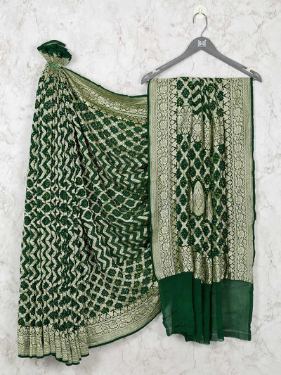 Designer Green Bandhej Wedding Saree