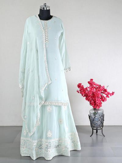 Designer green georgette lehenga style salwar suit