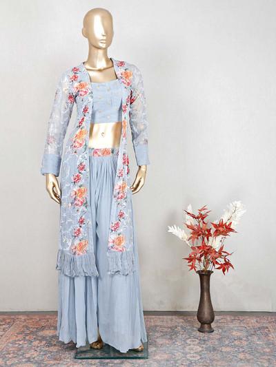 Designer grey raw silk wedding wear salwar kameez