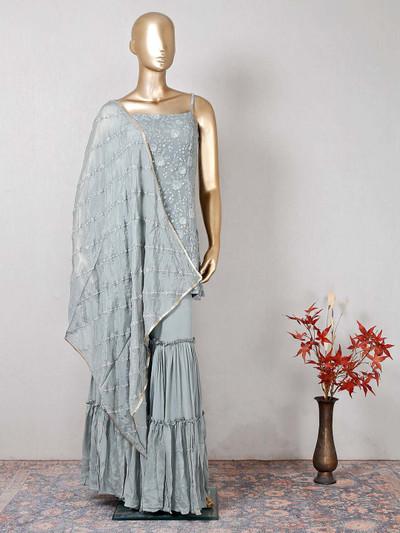 Designer grey sharara salwar kameez for wedding
