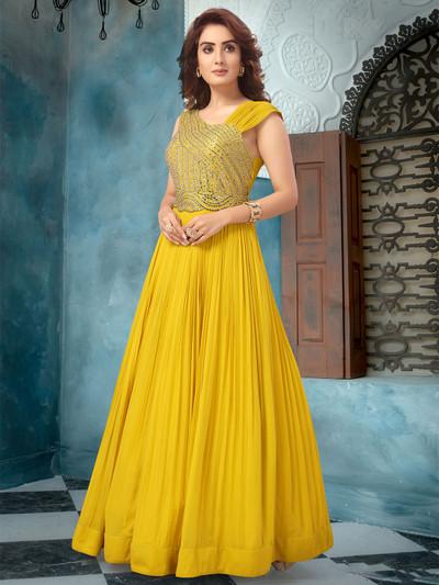 designer look georgette yellow fllor length anarkali dress style suit