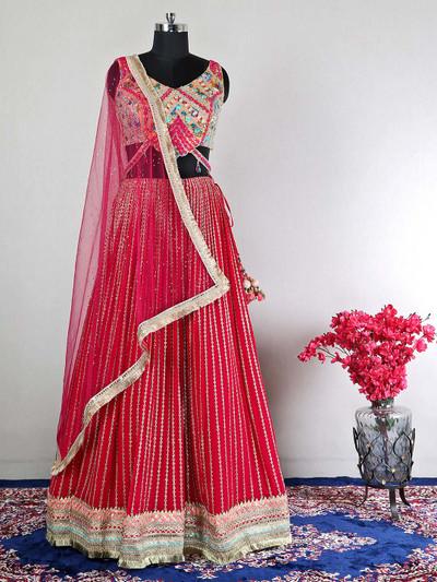 Designer magenta hue wedding lehenga choli for women
