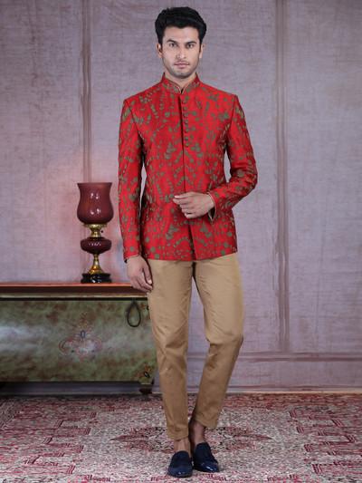 Designer maroon raw silk wedding wear jodhpuri suit