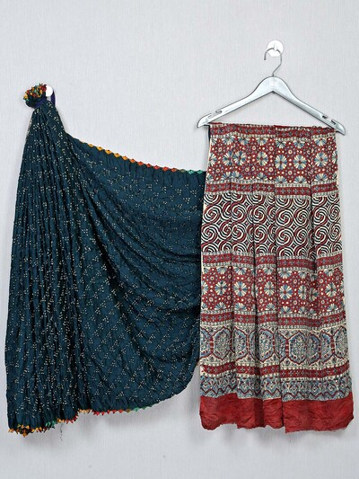 Designer navy and red bandhej festive saree