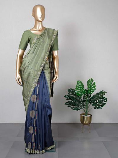 Designer navy and green cotton silk saree for festive wear