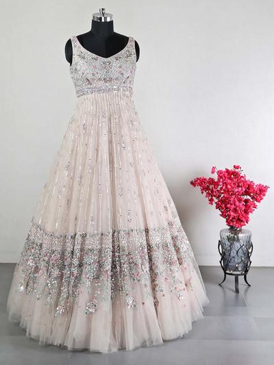 Designer off- white wedding gown in net