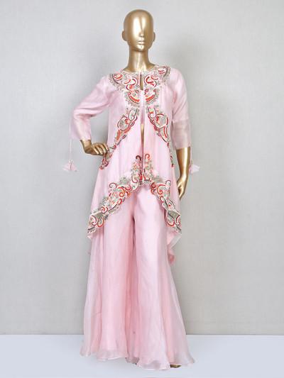 Designer pink cotton silk wedding sharara suit