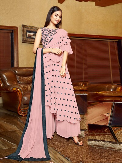 Designer pink wedding wear palazzo suit for women