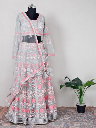 Designer pista green net fabric wedding lehenga choli
