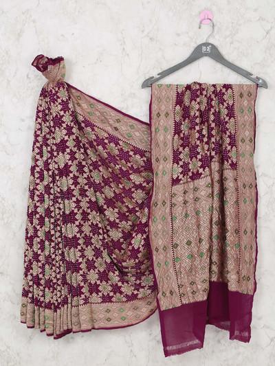 Designer purple bandhej wedding saree
