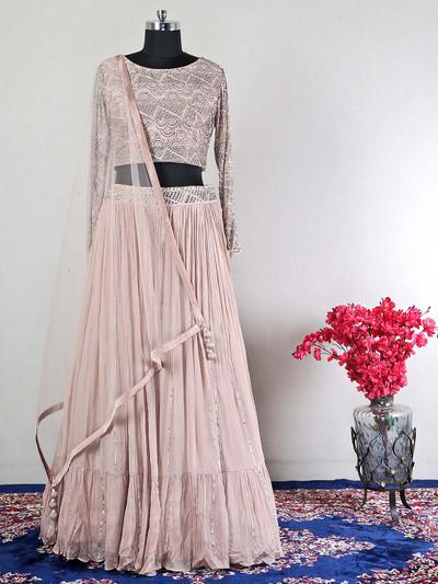 Designer reception wear  peach wedding lehenga