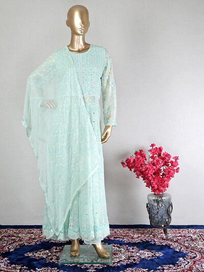 Designer sky blue georgette suit in palazzo style