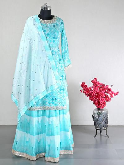Designer sky blue party wear salwear kameez