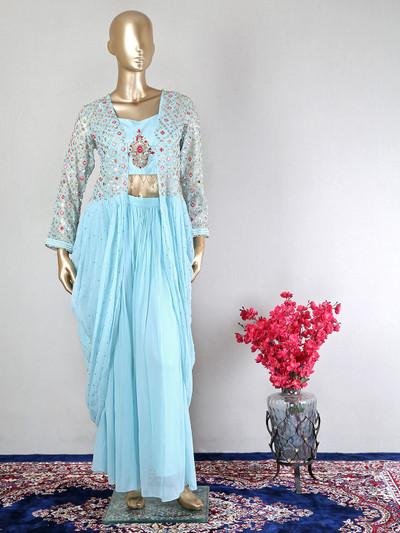 Designer sky blue wedding wear jacekt style palazzo suit