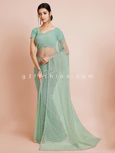 Designer tissue silk saree in pista green