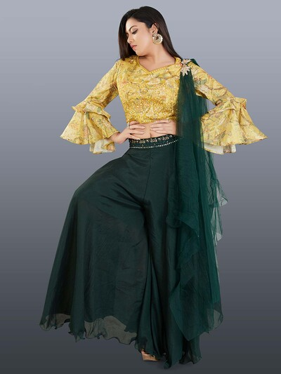 Designer yellow and bottle green indowestern salwar suit in georgette