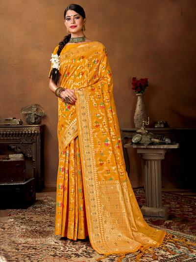 Designer mustard yellow patola silk wedding occasions saree