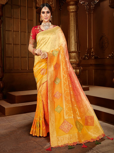 Designer yellow saree for wedding events in dola silk