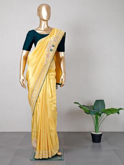 Designer yellow silk wedding wear saree