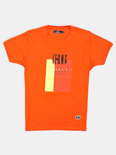Disorder orange printed cotton mens t-shirt