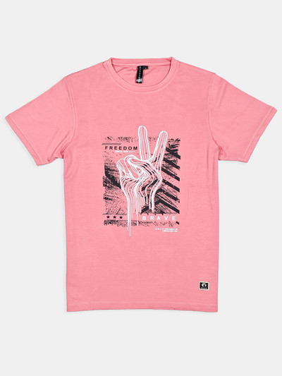 Disorder printed pink cotton round neck t-shirt