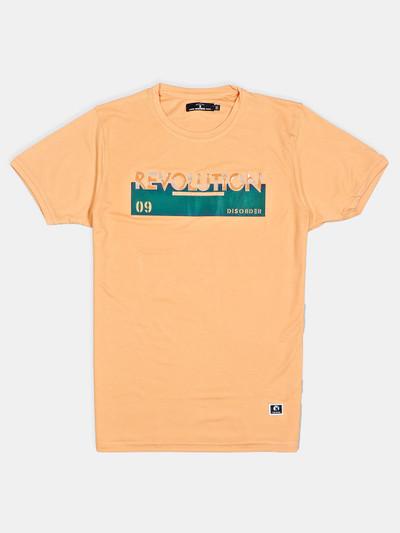 Disorder printed yellow cotton slim fit t-shirt