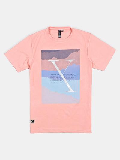 Disorder slim fit pink printed t-shirt