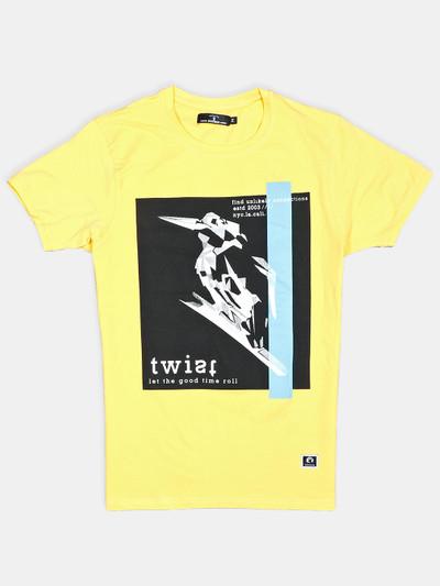 Disorder yellow printed cotton mens t-shirt