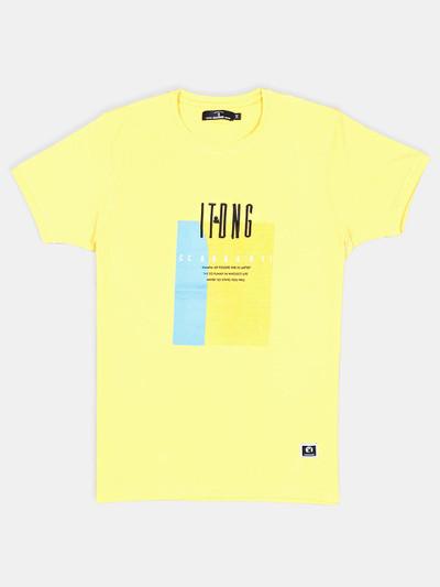 Disorder yellow printed cotton t-shirt