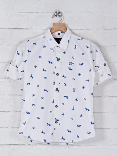 DNJS white printed casual wear shirt