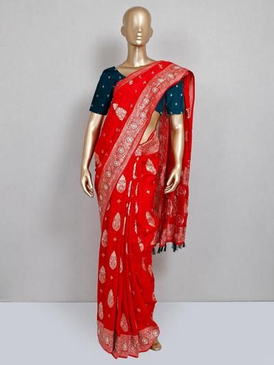 Dola silk red saree for festive wear
