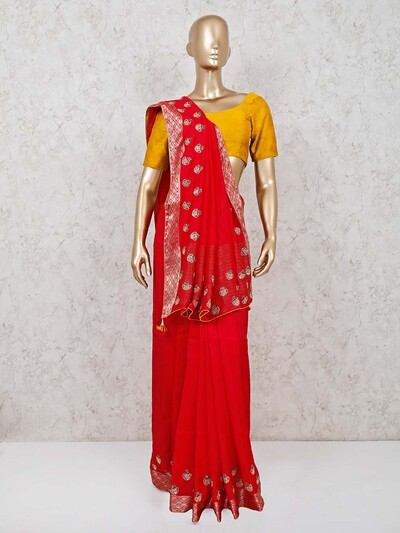 Dola silk red wedding function saree