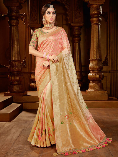 Dola silk saree in beige for wedding occasions