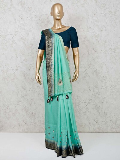 Dola silk sea green festive saree