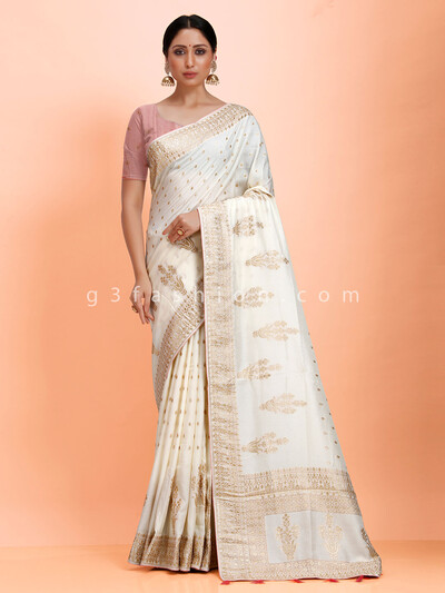 Dola silk zari woven off white saree