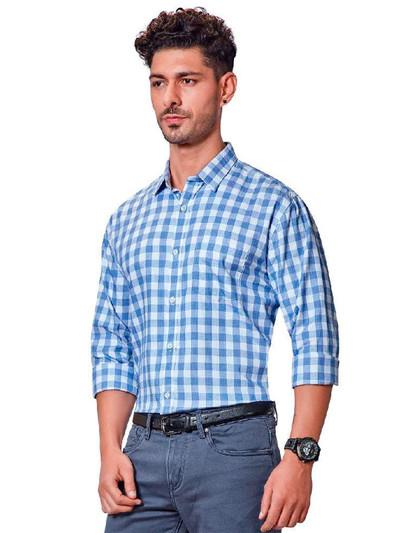 Dragon Hill blue checks full sleeves shirt