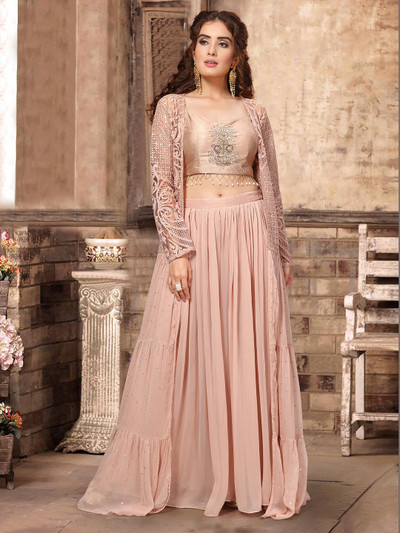 Dusty pink georgette palazzo style salwar suit