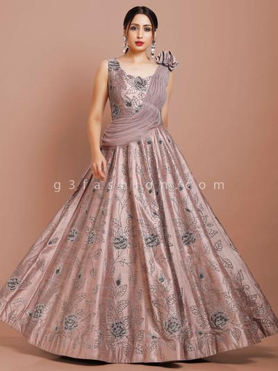 Dusty pink raw silk fabric floor length gown