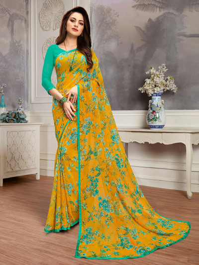 Effective yellow printed georgette saree for festive wear