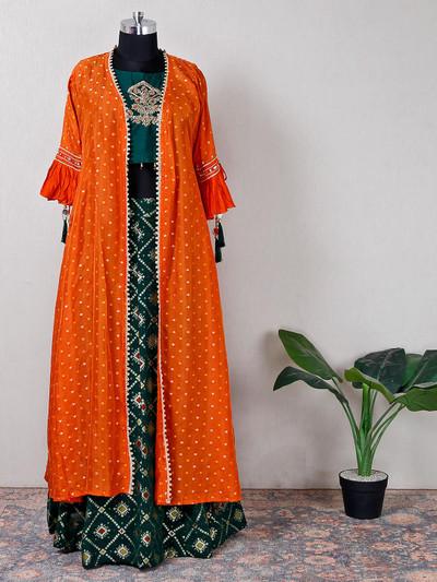 Egyptian green and orange jacket style suit