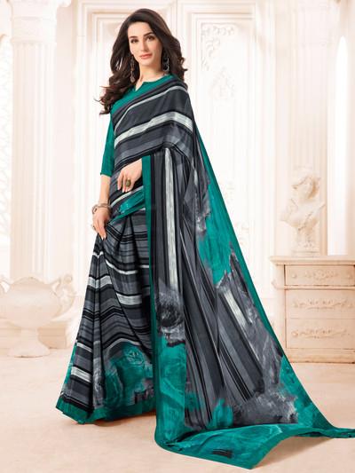 Elegant crepe black and sea green printed saree