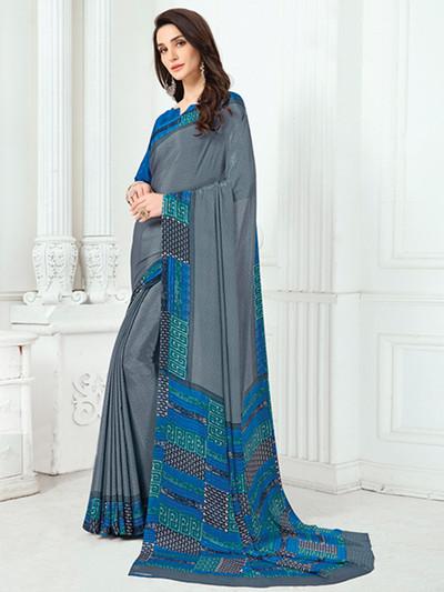 Elegant crepe grey printed saree