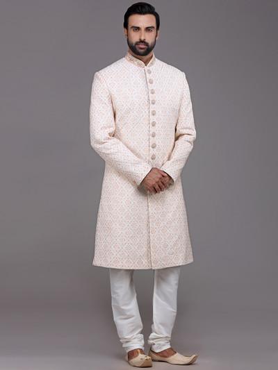 Elegent cream sherwani in silk